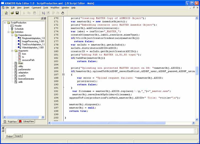 AXMEDIS Content ProcessingTools Rule Editor and GRID AXCP Tools easy Screen Shot